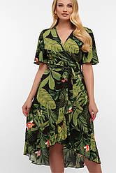 Літній чорне плаття з листям на запах великі розміри