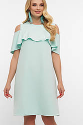 Нарядное мятное платье а-силуэта с воланом и вырезами на плечах большие размеры