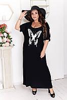 Длинное трикотажное платье БАТАЛ 50-64 р-р в расцветках 3828 черный, 58-60