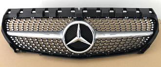 Решетка радиатора Mercedes CLA C117 (13-16) стиль Diamond AMG (серебро)