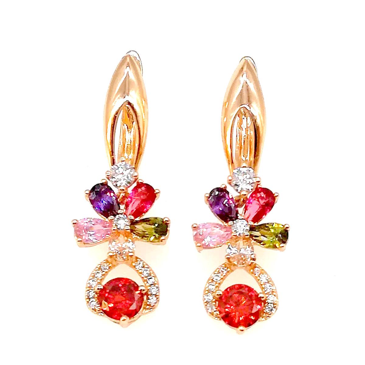 Сережки Xuping з медичного золота, червоні, рожеві, фіолетові, оливкові і білі фіаніти, позолота 18К, 23165 (1)