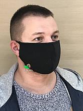 Маска защитная черная на резинках
