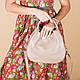 Кожаная бежевая женская сумка с двумя ручками, цвет любой на выбор, фото 2
