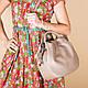 Кожаная бежевая женская сумка с двумя ручками, цвет любой на выбор, фото 4