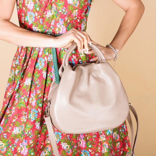 Кожаная бежевая женская сумка с двумя ручками, цвет любой на выбор