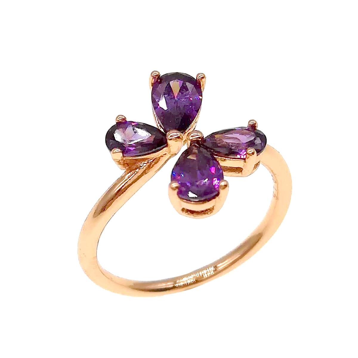 Кольцо Xuping из медицинского золота, фиолетовые фианиты, позолота 18К, 11809       (Безрозмірна)