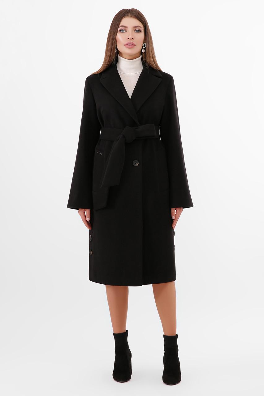 Пальто женское осенне-весеннее черное ПМ-104
