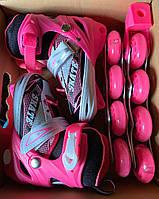 Ролики детские раздвижные Profi A 4123-S-P, 2 вида, размер 31-34, 35-38, розово-черный, свет переднего колеса