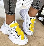 Женские летние кожаные кроссовки со сквозной  перфорацией, фото 7