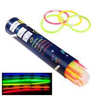 Неоновые светящиеся палочки браслеты ХИС Глоустик разноцветные 100шт (от 2х упаковок дешевле)