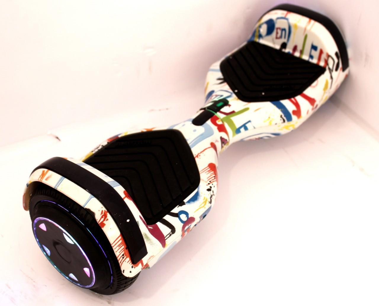 "Гироскутер Smart Balance Small 6.5"" с подсветкой колес белый граффити 2"