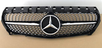 Решетка радиатора Mercedes CLA C117 (13-16) стиль Diamond AMG (черный глянц)