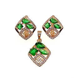 Комплект прикрас (Сережки + підвіска), зелені і білі фіаніти, позолота 18К, 73614 (1)