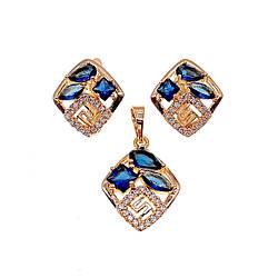 Комплект прикрас (Сережки + підвіска), сині та білі фіаніти, позолота 18К, 73613 (1)