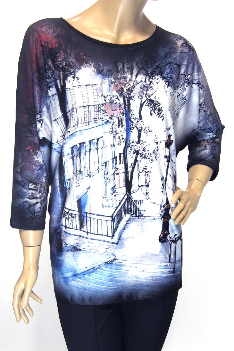 Модна жіноча кофта вільного крою з принтом