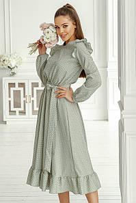 Платье женское с рюшиками в горох Фисташковый