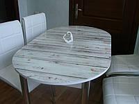 """Розкладний обідній кухонний комплект овальний стіл і стільці """"Світлі дошки"""" ДСП гартоване скло 75*130 Лотос-М"""