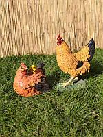 Садовая фигура Курица и курица с цыплёнком. декоративная садовая фигура.
