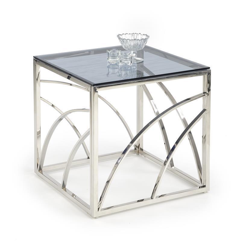 Журнальный стол UNIVERSE KWADRAT дымчастый/серебристый 55X55 (Halmar)