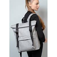 Стильный большой повседневный, городской женский рюкзак роллтоп серый экокожа
