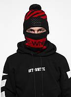 Комлект Off White (шапка + бафф) 20836 черно-красный