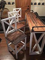 Стол из дерева ручной работы со стульями