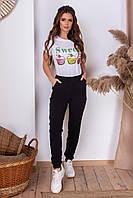 Весенние женские спортивные штаны с карманами чёрные S (42) M (44) L (46)