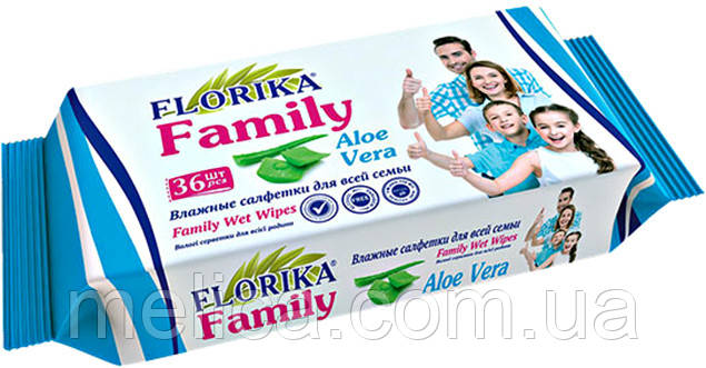 Влажные салфетки для всей семьи Florika Family Aloe Vera - 36 шт.