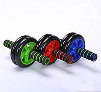 Тренажер-колесо для пресса двойное с ковриком (GIPS), Фитнес колесо, Ролик для пресса, магазин Gipo