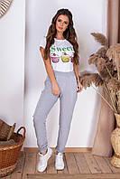 Весенние женские спортивные штаны с карманами серые S (42) M (44) L (46)
