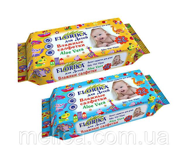 Влажные салфетки для детей Florika Aloe Vera - 48 шт.