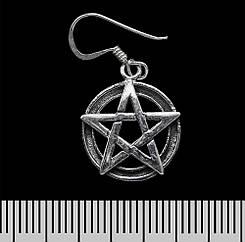 Серьга-крючок Пентаграмма (серебро, 925 проба)