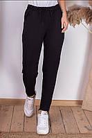 Укороченные женские спортивные штаны с карманами чёрные S (42) M (44) L (46)