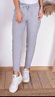 Укороченные женские спортивные штаны с карманами серые S (42) M (44) L (46)