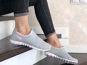 Женские кроссовки летние Nike Free Run 3.0,серые с розовым, фото 2