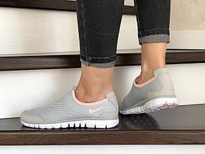 Женские кроссовки летние Nike Free Run 3.0,серые с розовым, фото 3