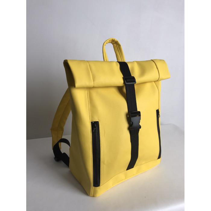 Большой женский городской желтый рюкзак роллтоп экокожа (качественный кожзам)