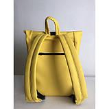 Большой женский городской желтый рюкзак роллтоп экокожа (качественный кожзам), фото 2