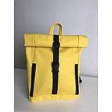 Большой женский городской желтый рюкзак роллтоп экокожа (качественный кожзам), фото 3