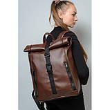 Большой женский городской желтый рюкзак роллтоп экокожа (качественный кожзам), фото 5