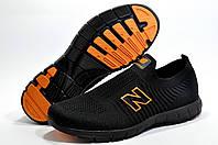 Мужские летние слипоны в стиле New Balance Slip On, Чёрный/Оранжевый