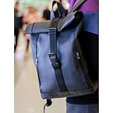 Большой женский городской желтый рюкзак роллтоп экокожа (качественный кожзам), фото 6