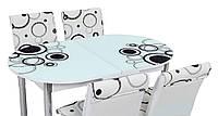 """Розкладний обідній кухонний комплект овальний стіл і стільці """"Кола чорні"""" ДСП гартоване скло 75*130 Лотос-М"""