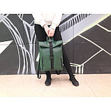 Большой женский городской желтый рюкзак роллтоп экокожа (качественный кожзам), фото 8
