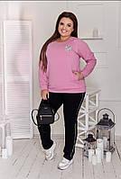 Женский повседневный спортивный костюм брюки штаны и кофта с карманами чёрный с розовым 48-50 52-54, фото 1