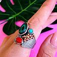 Серебряный комплект серьги и кольцо с малахитом, кораллом, бирюзой, фото 9