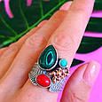 Серебряный комплект серьги и кольцо с малахитом, кораллом, бирюзой, фото 8