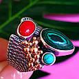 Серебряный комплект серьги и кольцо с малахитом, кораллом, бирюзой, фото 7