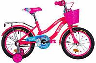 """Велосипед детский для девочек с боковыми колесами Formula Flower 16"""" розовый"""