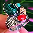 Серебряный комплект серьги и кольцо с малахитом, кораллом, бирюзой, фото 6